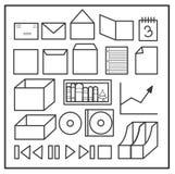 καθορισμένο διάνυσμα χαρτικών γραφείων απεικόνισης εικονιδίων Στοκ Εικόνα