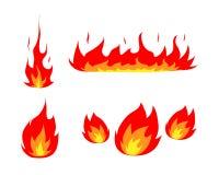 καθορισμένο διανυσματικό λευκό απεικόνισης εικονιδίων πυρκαγιάς ανασκόπησης μαύρο Στοκ Φωτογραφία