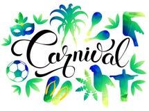 Καθορισμένο καρναβάλι Ταξίδι εικονιδίων και έννοια τουρισμού Υπόβαθρο της Βραζιλίας επίσης corel σύρετε το διάνυσμα απεικόνισης Στοκ εικόνες με δικαίωμα ελεύθερης χρήσης