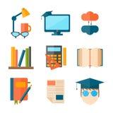 Καθορισμένο κολλέγιο εικονιδίων Ιστού εκπαίδευσης και σχολικής διανυσματικό απεικόνισης που τα διαβαθμισμένα σύμβολα ελεύθερη απεικόνιση δικαιώματος
