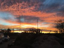 Καθορισμένο κόκκινο ήλιων Coober pedy Στοκ Φωτογραφία