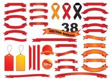 Καθορισμένο κόκκινο χρώμα εικονιδίων κορδελλών διανυσματικό στο άσπρο υπόβαθρο Στοκ Φωτογραφίες