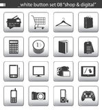 καθορισμένο λευκό 08 κουμπιών Στοκ Φωτογραφία