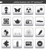 καθορισμένο λευκό 10 κουμπιών Στοκ Φωτογραφία
