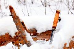 Καθορισμένο μαχαίρι κυνηγιού στο χειμερινό χιονώδες δάσος Στοκ φωτογραφίες με δικαίωμα ελεύθερης χρήσης