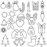 Καθορισμένο μαύρο λευκό σχεδίων διακοσμήσεων Χριστουγέννων ελεύθερη απεικόνιση δικαιώματος