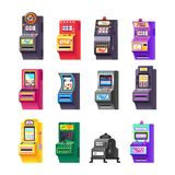 Καθορισμένο μηχάνημα τυχερών παιχνιδιών με κέρματα, ηλεκτρονικό εικονικό παιχνίδι με να θίξει τα θέματα, επιδόματα Στοκ φωτογραφίες με δικαίωμα ελεύθερης χρήσης