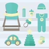Καθορισμένο μωρό για τα στοιχεία αγοριών Στοκ εικόνα με δικαίωμα ελεύθερης χρήσης