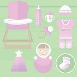 Καθορισμένο μωρό για τα στοιχεία κοριτσιών Στοκ Φωτογραφία