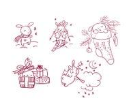 Καθορισμένο νέο ύφος καρτών Χριστουγέννων χαρακτήρα έτους λαγουδάκι doodle ελεύθερη απεικόνιση δικαιώματος