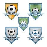 Καθορισμένο λογότυπο ποδοσφαίρου για την ομάδα και το φλυτζάνι Στοκ Εικόνα