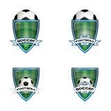Καθορισμένο λογότυπο ποδοσφαίρου για την ομάδα και το φλυτζάνι Στοκ Εικόνες
