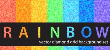 Καθορισμένο ουράνιο τόξο σχεδίων διαμαντιών Διανυσματικά άνευ ραφής γεωμετρικά υπόβαθρα Στοκ εικόνα με δικαίωμα ελεύθερης χρήσης