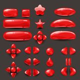 Καθορισμένο παιχνίδι ui Πλήρεις κόκκινες επιλογές του γραφικού ενδιάμεσου με τον χρήστη GUI για να χτίσει τα 2$α παιχνίδια περιστ Στοκ φωτογραφία με δικαίωμα ελεύθερης χρήσης