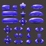 Καθορισμένο παιχνίδι ui Πλήρεις μπλε ναυτικές επιλογές του γραφικού ενδιάμεσου με τον χρήστη GUI για να χτίσει τα 2$α παιχνίδια π Στοκ Εικόνα