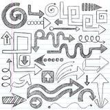 καθορισμένο περιγραμματικό διάνυσμα σημειωματάριων βελών doodles Στοκ Εικόνες