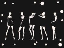 Καθορισμένο προκλητικό κορίτσι στο υπόβαθρο κύκλων χορού μονοχρωματικό Στοκ Εικόνες