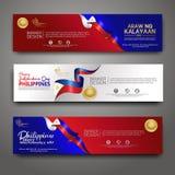 Καθορισμένο πρότυπο σχεδίου εμβλημάτων Ευτυχές σύγχρονο υπόβαθρο των Φιλιππινών ημέρας της ανεξαρτησίας διανυσματική απεικόνιση