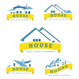 Καθορισμένο πρότυπο σχεδίου λογότυπων σπιτιών Στοκ Εικόνες