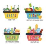 Καθορισμένο πλήρες καλάθι με τα διαφορετικά αγαθά Καλάθι με τα τρόφιμα, την μπύρα, τα φρούτα και λαχανικά και τα οικιακά καθαρίζο διανυσματική απεικόνιση