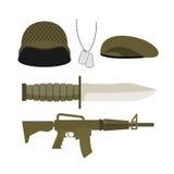 Καθορισμένο στρατιωτικό εικονίδιο στρατού Κράνος στρατιωτών και διακριτικό, πυροβόλο όπλο και knif Στοκ Εικόνες