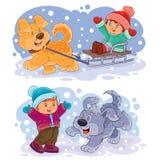Καθορισμένο συνδετήρων τέχνης παιχνίδι παιδιών απεικόνισης μικρό με τα σκυλιά τους Στοκ Εικόνες