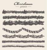 Καθορισμένο συρμένο χέρι διάνυσμα στοιχείων γιρλαντών Χριστουγέννων Στοκ φωτογραφία με δικαίωμα ελεύθερης χρήσης