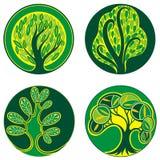 Καθορισμένο σχέδιο διακοσμήσεων εικονιδίων δέντρων διανυσματική απεικόνιση