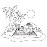 Καθορισμένο σχέδιο εικονιδίων καλοκαιριού και διακοπών ελεύθερη απεικόνιση δικαιώματος