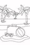 Καθορισμένο σχέδιο εικονιδίων καλοκαιριού και διακοπών απεικόνιση αποθεμάτων