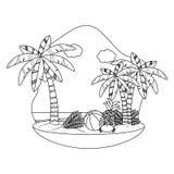 Καθορισμένο σχέδιο εικονιδίων καλοκαιριού και διακοπών διανυσματική απεικόνιση