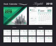 Καθορισμένο σχέδιο ημερολογιακών 2018 προτύπων γραφείων, πράσινη κάλυψη Στοκ Εικόνα