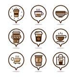 Καθορισμένο σχέδιο εικονιδίων λογότυπων καφέδων καφέ Στοκ Εικόνες