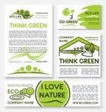 Καθορισμένο σχέδιο προτύπων επιχειρησιακών εμβλημάτων Eco πράσινο Στοκ φωτογραφία με δικαίωμα ελεύθερης χρήσης