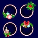 Καθορισμένο σχέδιο πλαισίων Χριστουγέννων με τους κλάδους και το τόξο κουδουνιών κεριών διανυσματική απεικόνιση