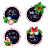 Καθορισμένο σχέδιο πλαισίων Χριστουγέννων με το τόξο κλάδων κουδουνιών κεριών και διανυσματική απεικόνιση