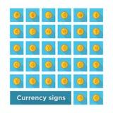 Καθορισμένο σύμβολο νομίσματος εικονιδίων στο χρυσό νόμισμα στοκ φωτογραφία