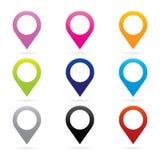 Καθορισμένο σύμβολο σημαιών θέσης ΠΣΤ δεικτών εικονιδίων δεικτών χαρτών διανυσματική απεικόνιση