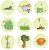 Καθορισμένο τοπίο πακέτων εικονιδίων κήπων χρώματος κινούμενων σχεδίων οριζόντια αστείο απεικόνιση αποθεμάτων