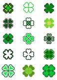Καθορισμένο τριφύλλι φύλλων Τέσσερα φύλλο, σκιαγραφίες, τυποποιημένες στο πράσινο χρώμα ελεύθερη απεικόνιση δικαιώματος