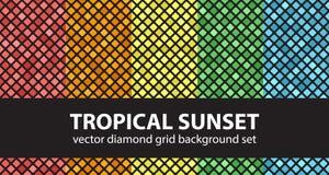 Καθορισμένο τροπικό ηλιοβασίλεμα σχεδίων διαμαντιών Στοκ φωτογραφίες με δικαίωμα ελεύθερης χρήσης