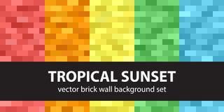 Καθορισμένο τροπικό ηλιοβασίλεμα σχεδίων ορθογωνίων Στοκ φωτογραφία με δικαίωμα ελεύθερης χρήσης