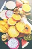 Καθορισμένο τροπικό Papaya καρπουζιών φρούτων περικοπών πεύκο Στοκ φωτογραφία με δικαίωμα ελεύθερης χρήσης