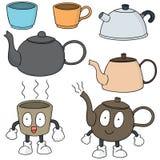 καθορισμένο τσάι καφέ Στοκ Εικόνες