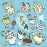 καθορισμένο τσάι κινούμενων σχεδίων βικτοριανό Στοκ Εικόνες