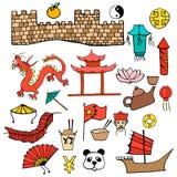 Καθορισμένο χρώματος χαρακτήρων που σύρεται χέρι σημαδιών κινεζικών Στοκ φωτογραφία με δικαίωμα ελεύθερης χρήσης