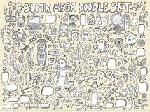 καθορισμένο διάνυσμα σκίτσων σημειωματάριων σχεδίου doodle Στοκ Εικόνα