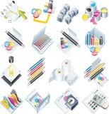 καθορισμένο διάνυσμα υπηρεσιών τυπωμένων υλών εικονιδίων σχεδίου Στοκ Εικόνα