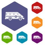 Καθορισμένο hexagon ασθενοφόρων emergency van icons Στοκ φωτογραφία με δικαίωμα ελεύθερης χρήσης