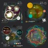 Καθορισμένο infographics με τα υγιή κύματα σε ένα σκοτεινό υπόβαθρο ελεύθερη απεικόνιση δικαιώματος